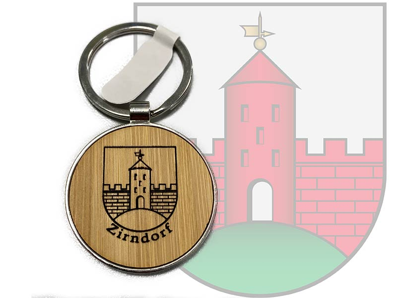 Schlüsselanhänger Stadtwappen Zirndorf Bambus Metall Geschenk