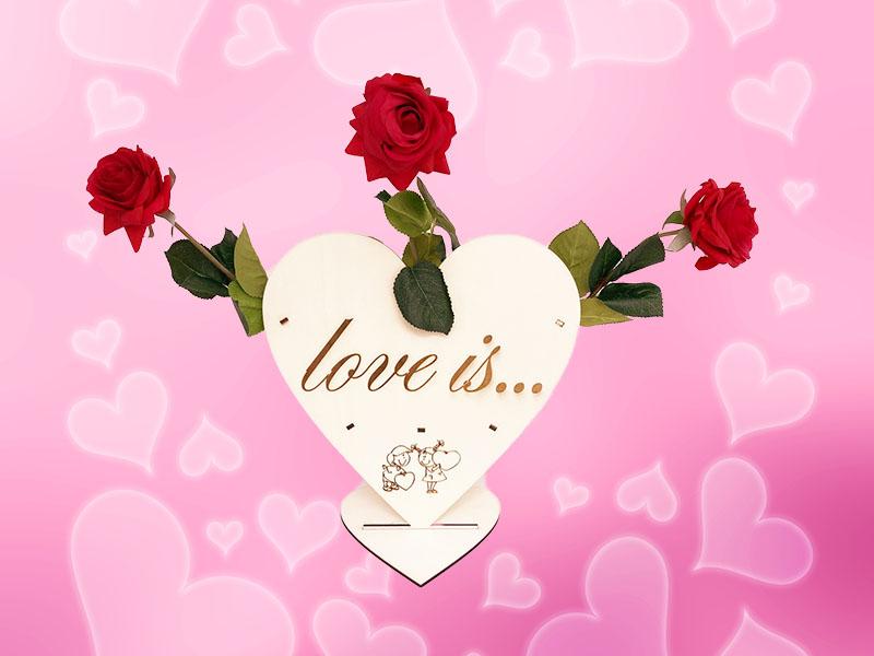 Herz Blumen Lasergravur Valentinstag Rosen Stoff